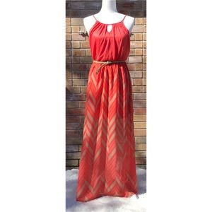 Lilly Rose | Maxi Dress with Tan Belt